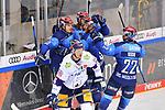 Torjubel beim ERC Ingolstadt nach dem 2:1 durch Mirko Höfflin (Nr.10 - ERC Ingolstadt), Tim Wohlgemuth (Nr.33 - ERC Ingolstadt), Frederik Storm (Nr.9 - ERC Ingolstadt), und Mathew Bodie (Nr.22 - ERC Ingolstadt) freuen sich mit ihm, Kai Wissmann (Nr.6 - Eisbären Berlin)  beim Spiel im Halbfinale der DEL, ERC Ingolstadt (dunkel) - Eisbaeren Berlin (hell).<br /> <br /> Foto © PIX-Sportfotos *** Foto ist honorarpflichtig! *** Auf Anfrage in hoeherer Qualitaet/Aufloesung. Belegexemplar erbeten. Veroeffentlichung ausschliesslich fuer journalistisch-publizistische Zwecke. For editorial use only.