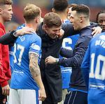 15.05.2021 Rangers v Aberdeen: Steven Gerrard with Scott Arfield and Ryan Jack