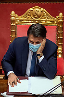 The Italian Premier Giuseppe Conte  during the information at the Senate about the government crisis.<br /> Rome(Italy), January 19th 2021<br /> Photo Pool Antonio Masiello/Insidefoto