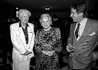 April 11, 1990 File Photo - <br /> <br /> <br />  - May Cutler, Mayor of Westmount (L)<br />  Jeanne Sauve, Governor General of Canada (M), Albert Millaire (R)