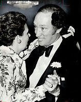 Dance in the old-fashioned way. At a fund-raising dinner last night in the Royal York, Prime Minister Pierre Trudeau dances sedately with Barbara Heard.