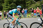 Russian Champion Aleksandr Vlasov (RUS) Astana Pro Team rounds the final bend before the finish of Stage 3 of the Route d'Occitanie 2020, running 163.5km from Saint-Gaudens to Col de Beyrède, France. 3rd August 2020. <br /> Picture: Colin Flockton | Cyclefile<br /> <br /> All photos usage must carry mandatory copyright credit (© Cyclefile | Colin Flockton)