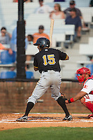 Enyel Vallejo (15) of the Bristol Pirates at bat against the Johnson City Cardinals at Howard Johnson Field at Cardinal Park on July 6, 2015 in Johnson City, Tennessee.  The Pirates defeated the Cardinals 2-0 in game one of a double-header. (Brian Westerholt/Four Seam Images)