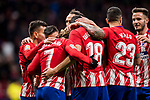 Antoine Griezmann of Atletico de Madrid celebrates his fourth goal with teammates during the La Liga 2017-18 match between Atletico de Madrid and CD Leganes at Wanda Metropolitano on February 28 2018 in Madrid, Spain. Photo by Diego Souto / Power Sport Images