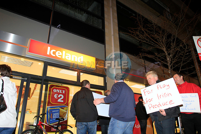 The scene of a protest outside the Iceland Store in Ashbourne Co Meath, A number of farmers and producers holding signs walked along the footpath calling for fair play and support off the British retailer...Picture: Fran Caffrey/ www.newsfile.ie.