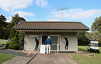 "Players wait to register at Whitford park. Golf during Level 3 Covid 19 isolation regulations. Players playing as part of their ""bubble"" or solo. Whitford park and Formosa Golf Courses. Thursday 30 April 2020. Photo: Simon Watts/www.bwmedia.co.nz"