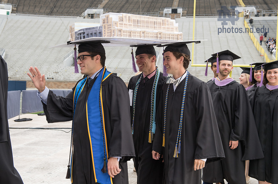 May 21, 2017; School of Architecture graduates enter Notre Dame Stadium for  the 2017 Commencement ceremony. (Photo by Barbara Johnston/University of Notre Dame)