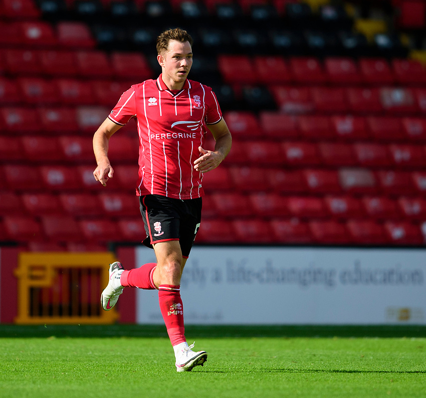 Lincoln City's Tom Hopper<br /> <br /> Photographer Andrew Vaughan/CameraSport<br /> <br /> The EFL Sky Bet League One - Saturday 12th September  2020 - Lincoln City v Oxford United - LNER Stadium - Lincoln<br /> <br /> World Copyright © 2020 CameraSport. All rights reserved. 43 Linden Ave. Countesthorpe. Leicester. England. LE8 5PG - Tel: +44 (0) 116 277 4147 - admin@camerasport.com - www.camerasport.com - Lincoln City v Oxford United