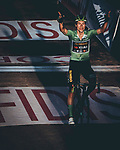 Green Jersey Primoz Roglic (SLO) Team Jumbo-Visma wins Stage 8 of the Vuelta Espana 2020 running 160km from Logroño to Alto de Moncalvillo, Spain. 28th October 2020. <br /> Picture: Unipublic/BaixauliStudio | Cyclefile<br /> <br /> All photos usage must carry mandatory copyright credit (© Cyclefile | Unipublic/BaixauliStudio)