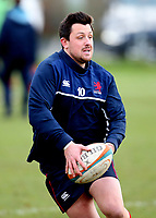 Jake Sharp of London Scottish warms up during the Greene King IPA Championship match between London Scottish Football Club and Jersey at Richmond Athletic Ground, Richmond, United Kingdom on 16 December 2017. Photo by Mark Kerton / PRiME Media Images.