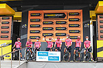 EF Education-Nippo best team at sign on before Stage 18 of the 2021 Tour de France, running 129.7km from Pau to Luz Ardiden, France. 15th July 2021.  <br /> Picture: A.S.O./Charly Lopez   Cyclefile<br /> <br /> All photos usage must carry mandatory copyright credit (© Cyclefile   A.S.O./Charly Lopez)