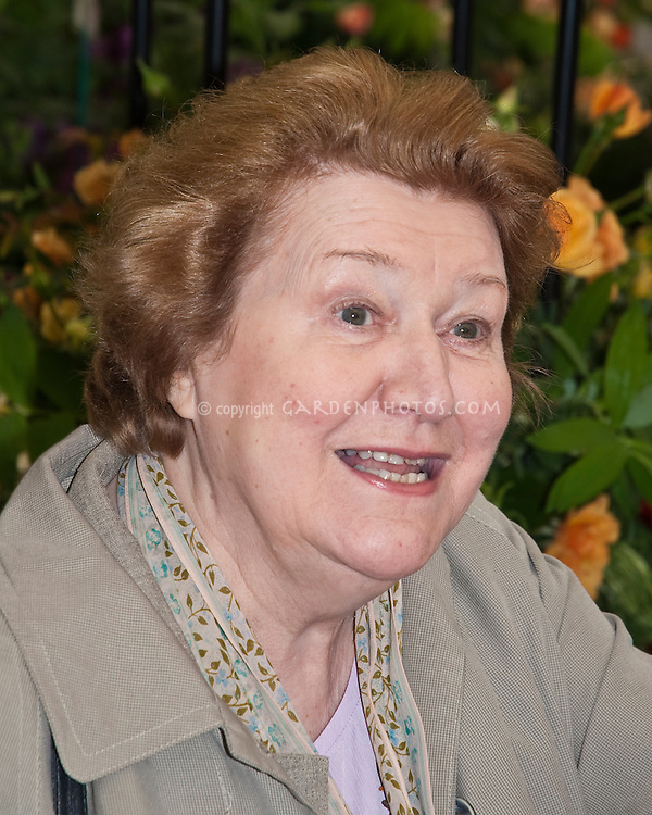 Patricia Routledge with rose, Chelsea Flower Show 2006, famous for Keeping Up Appearances, as Hyacinth Bucket, British television actress actor