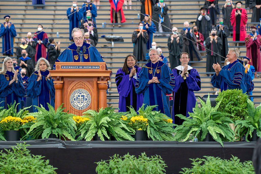 May 23, 2021; University of Notre Dame President John I. Jenkins, C.S.C., receives a standing ovation at the 176th Commencement Ceremony in Notre Dame Stadium. (Photo by Barbara Johnston/University of Notre Dame)
