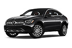 Stock pictures of low aggressive front three quarter view of 2020 Mercedes Benz GLC-Coupe GLC300 5 Door SUV Low Aggressive