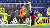 NASHVILLE, TN - SEPTEMBER 23: Bill Hamid #24 of DC United catches the ball during a game between D.C. United and Nashville SC at Nissan Stadium on September 23, 2020 in Nashville, Tennessee.