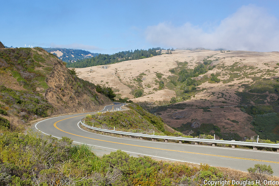 Famous California State Highway 1 hugs the cliffs along the Pacific Ocean Coast on the Sonoma Coast, south from the village of Mendocino to the famous Golden Gate.  This stunning coastline is often skipped by coastal drivers preferring the straight route along U.S. 101.