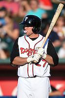 Lansing Lugnuts first baseman L.B. Dantzler (27) blows a bubble while at bat during a game against the South Bend Silver Hawks on June 6, 2014 at Cooley Law School Stadium in Lansing, Michigan.  South Bend defeated Lansing 13-5.  (Mike Janes/Four Seam Images)