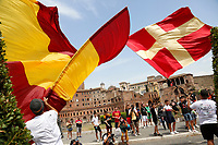 AS Roma supporters waving huge flags while waiting for the end of the presentation of the new trainer Jose' Mourinho.<br /> Rome (Italy), July 8th 2021<br /> Photo Samantha Zucchi Insidefoto