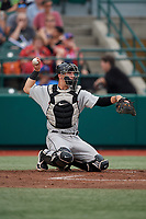 Tri-City ValleyCats catcher Korey Lee (35) during a NY-Penn League game against the Brooklyn Cyclones on August 17, 2019 at MCU Park in Brooklyn, New York.  Brooklyn defeated Tri-City 2-1.  (Mike Janes/Four Seam Images)