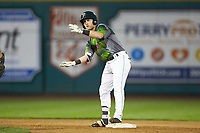 Tyler Benson (1) of the Fort Wayne TinCaps celebrates after hitting a double against the West Michigan Whitecaps at Parkview Field on August 5, 2019 in Fort Wayne, Indiana. The TinCaps defeated the Whitecaps 9-3. (Brian Westerholt/Four Seam Images)
