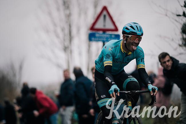 Zhandos Bizhigitov (KAZ/Astana) up the Oude Kwaremont<br /> <br /> 71th Kuurne-Brussel-Kuurne 2019 <br /> Kuurne to Kuurne (BEL): 201km<br /> <br /> ©kramon