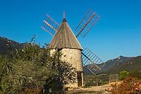"""France, Aude (11), Cucugnan: le moulin à vent dit """"le moulin d'Omer  // France, Aude, Cucugnan,  Omer windmill"""