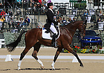 April 23, 2015:  #12 Foxwood High and Selena O'Hanlon finish in 12th place on the first day of Dressage at the Rolex Three Day Event at the Kentucky Horse Park in Lexington, KY.  Candice Chavez/ESW/CSM