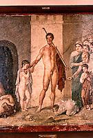Roman Art:  Fresco--Teseo vincitore del Minotauro (da Ercolano).  National Museum, Naples.