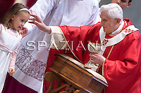 Pope Benedict XVI leaves at the end of a mass in memory of the Cardinals and Bishops who died during the year on November 5, 2009, at St Peter's Basilica at The Vatican.