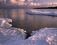 Winter sunset light on Lake Michigan at Newport State Park; Door County, WI