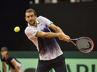 September 14, 2014, Netherlands, Amsterdam, Ziggo Dome, Davis Cup Netherlands-Croatia, Marin Cilic (CRO)<br /> Photo: Tennisimages/Henk Koster