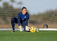 ORLANDO, FL - JANUARY 21: Aubrey Bledsoe #21 of the USWNT makes a save during a training session at the practice fields on January 21, 2021 in Orlando, Florida.