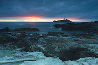 Godrevy Lighthouse at dusk, Hayle, Cornwall<br /> <br /> Copyright www.scottishhorizons.co.uk/Keith Fergus 2011 All Rights Reserved