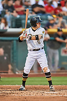 David Fletcher (15) of the Salt Lake Bees bats against the Fresno Grizzlies at Smith's Ballpark on September 3, 2017 in Salt Lake City, Utah. The Bees defeated the Grizzlies 10-8. (Stephen Smith/Four Seam Images)