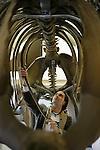 Foto: VidiPhoto..GAANDEREN - Bart Schenning uit Gaanderen heeft een compleet mammoetskelet in zijn schuur bij hem thuis gemaakt en daar uitgestald. Het komt zelden voor dat particulieren een mammoetskelet bezitten. Naast die van Schenning staan er nog zes skeletten in Nederland, meestal in musea. Het skelet van Schenning is overigens nog niet af. De kaken en de slagtanden moeten er nog aan.