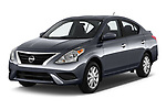 2019 Nissan Versa-Sedan SV 4 Door Sedan Angular Front stock photos of front three quarter view