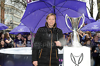 Jeff Thomas Photography -  www.jaypics.photoshelter.com - <br /> e-mail swansea1001@hotmail.co.uk -<br /> Mob: 07837 386244 -<br /> <br /> UEFA Women's Champion's League Final - 100 days to go - 21st February 2017 in Cardiff - Jayne Ludlow 2017 UEFA Women's Champions League Final Ambassador and the trophy.