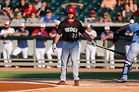 Chattanooga Lookouts left fielder TJ Hopkins (33) at bat against the Tennessee Smokies at Smokies Stadium on June 18, 2021, in Kodak, Tennessee. (Danny Parker/Four Seam Images)