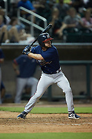 Riley Delgado (51) of the Mississippi Braves at bat against the Birmingham Barons at Regions Field on August 3, 2021, in Birmingham, Alabama. (Brian Westerholt/Four Seam Images)