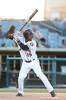 Teoscar Hernandez #15 of the Lancaster JetHawks bats against the Bakersfield Blaze at The Hanger on May 13, 2014 in Lancaster California. Lancaster defeated Bakersfield, 1-0. (Larry Goren/Four Seam Images)