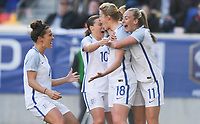 Harrison, N.J. - Sunday March 04, 2018: England celebrates their goall during a 2018 SheBelieves Cup match between the women's national teams of the Germany (GER) and England (ENG) at Red Bull Arena.