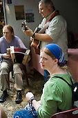 Musicians playing Cajun style at the 31st International Festival of Luthiers and Maitres Sonneurs, in Saint Chartier, France.