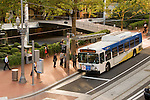 Trimet bus at the Portland Transit Mall in Portland, OR.