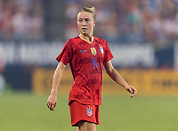 CHARLOTTE, NC - OCTOBER 3: Emily Sonnett #14 of the United States looks to the ball during a game between Korea Republic and USWNT at Bank of America Stadium on October 3, 2019 in Charlotte, North Carolina.