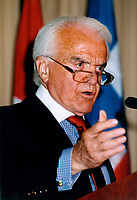 May 1999 FILE Photo, Montreal, Canada<br /> <br /> Jack Valenti, President American Motion Picture Association of America, May 1999 in Montreal, Canada<br /> <br /> Mandatory Credit: Photo by Pierre Roussel- Images Distribution. (©) Copyright 1989 by Pierre Roussel