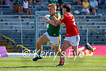 Killian Spillane, Kerry, in action against Kevin O' Donovan, Cork, during the Munster GAA Football Senior Championship Final match between Kerry and Cork at Fitzgerald Stadium in Killarney on Sunday.
