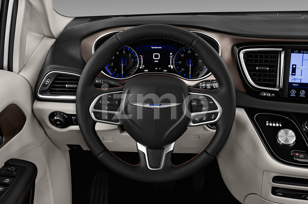 Car pictures of steering wheel view of a 2018 Chrysler Pacifica Touring-L Plus 5 Door Mini Van