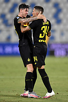 Cristiano Biraghi of FC Internazionale celebrates with Alessandro Bastoni after scoring the goal of 0-2 during the Serie A football match between SPAL and Internazionale FC at Paolo Mazza stadium in Ferrara ( Italy ), July 16th, 2020. Play resumes behind closed doors following the outbreak of the coronavirus disease. Photo Andrea Staccioli / Insidefoto