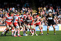 Luke Narraway of Gloucester Rugby (2nd right) passes the ball to Dan Robson of Gloucester Rugby (no.21) during the Aviva Premiership match between London Wasps and Gloucester Rugby at Adams Park on Sunday 1st April 2012 (Photo by Rob Munro)