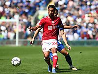 28th August 2021; Cardiff City Stadium, Cardiff, Wales;  EFL Championship football, Cardiff versus Bristol City; Zak Vyner of Bristol City plays the ball back in defense